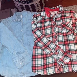 SET OF 2 Girls cat and jack long sleeve button ups